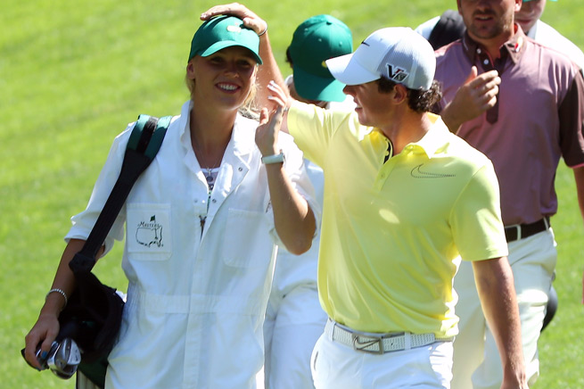 Caroline Wozniacki served as her boyfriend Rory McIlroy's caddie in the Par-3 Contest at the Masters.