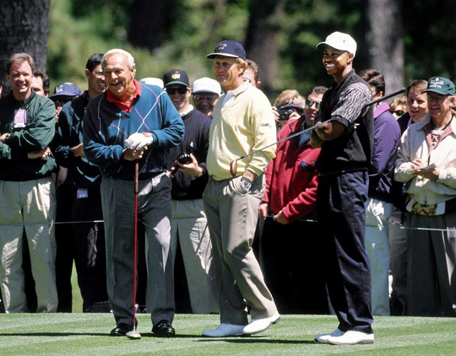 Arnold Palmer, Jack Nicklaus and Tiger Woods played a practice round together in 1996.