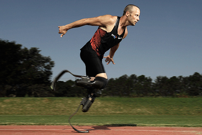 Oscar Pistorius, pictured training in South Africa in 2012, has been seen out and about around South Africa since being released on bail.