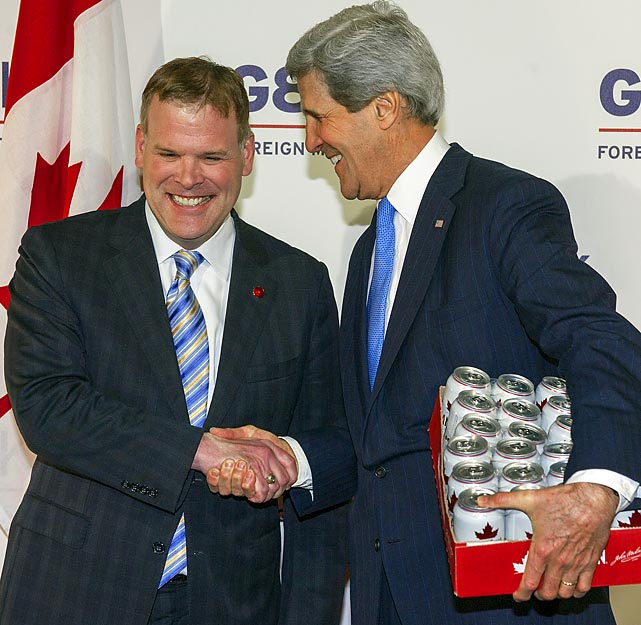 The wily U.S. Secretary of State graciously accepted a case of Canadian suds from the Great White North's Foreign Minister at the G8 meeting in London. Kerry, who'd wagered a case of Samuel Adams, won his bet that Team USA would beat Canada in the women's world ice hockey championship game and, by golly, they did.