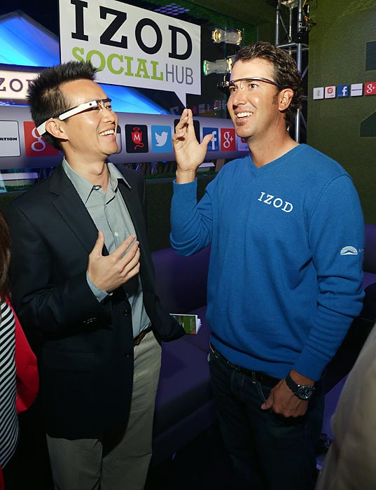 Mirthmakers at the IZOD Social Hub kick-off party in Augusta tested the latest in technology from Google Glass, which allowed the two-time PGA Tour winner to more closely examine the MAXIM models (not pictured) that were on hand.