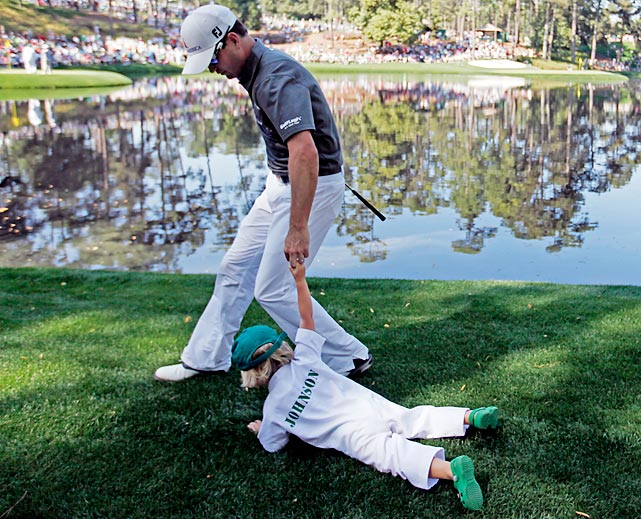 Zach Johnson demonstrates that it can be a drag bringing kids on golf outings.