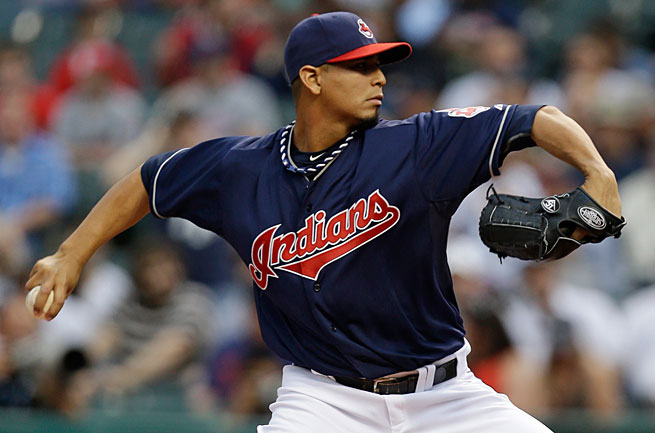Carlos Carrasco was ejected from his first appearance since 2011 for hitting the Yankees' Kevin Youkilis.