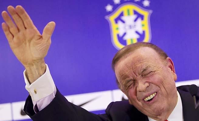 Brazilian soccer president Jose Maria Marin gestures during a press conference in Rio de Janeiro.