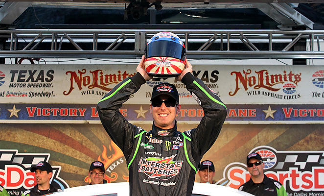 Kyle Busch celebrated winning pole position at the NRA 500 at Texas Motor Speedway on Friday.