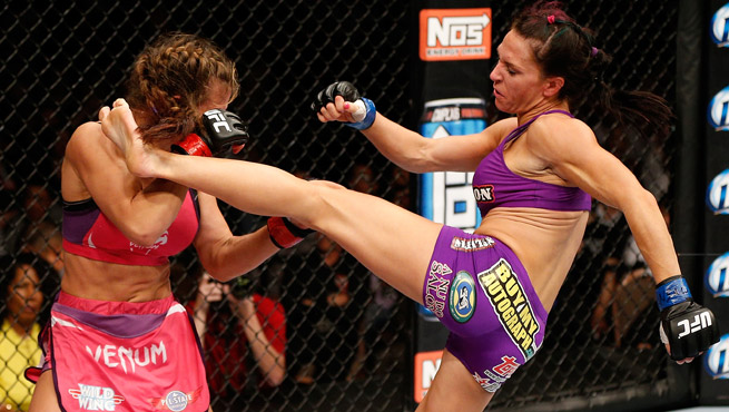 Cat Zingano (right) defeated Miesha Tate with a third-round TKO at Saturday's MMA event.