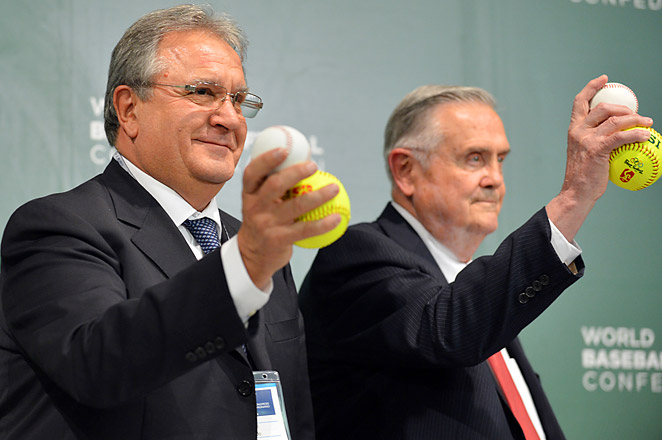 World Baseball Softball Confederation co-presidents Riccardo Fraccari (L) and Don Porter celebrate the union.