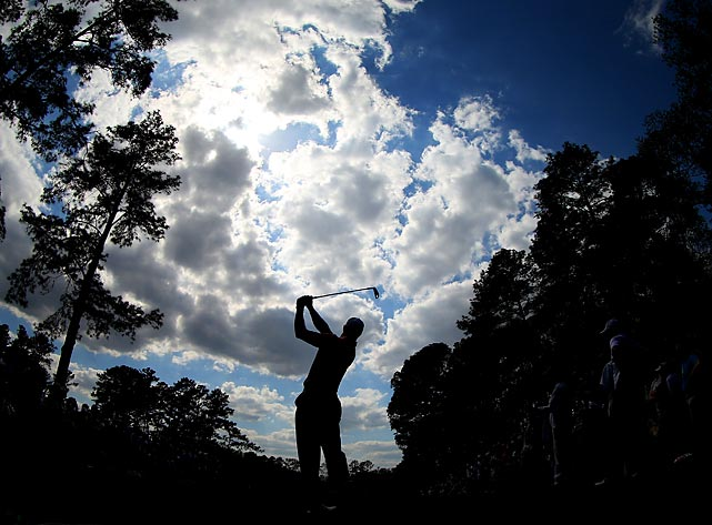 Tiger Woods of the United States hits a shot during a practice round prior to the start of the 2013 Masters Tournament at Augusta National Golf Club on April 9, 2013 in Augusta, Georgia.