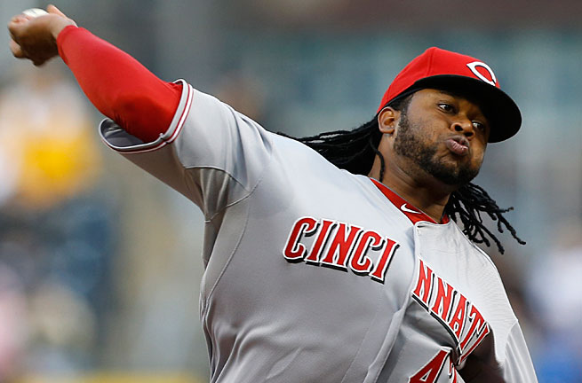 Johnny Cueto has a strained myscle in his back; he suffered a strained oblique in last year's NLDS.