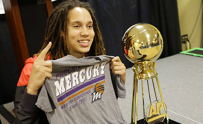 Brittney Griner poses with a Phoenix Mercury shirt at the women's Final Four last week.