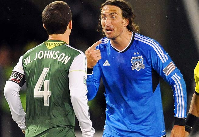 Alan Gordon argues with Timbers midfielder and captain Will Johnson on Sunday night.