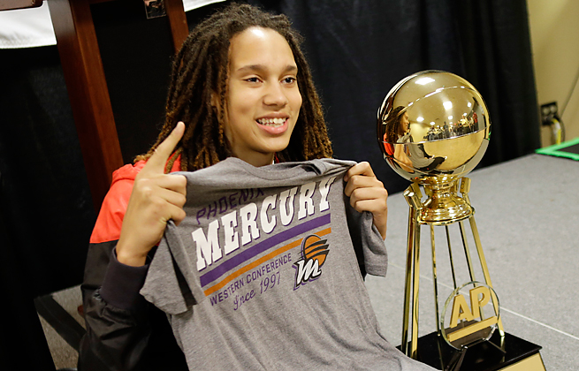 After winning a second AP Player of the Year award, Brittney Griner was picked No. 1 in the WNBA draft.