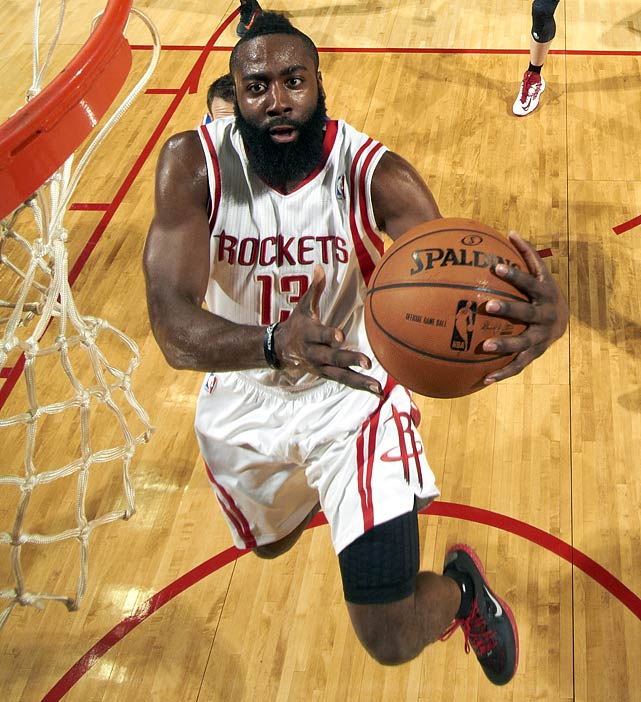 <bold>26 points | 5.9 assists | 4.8 rebounds | 1.8 steals</bold> Harden flourished after a trade to Houston, averaging a career-high 26 points on 44.2 percent shooting.
