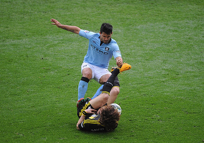 Sergio Aguero's ill-timed tackle on Davis Luiz came in Manchester City's FA Cup victory over Chelsea.