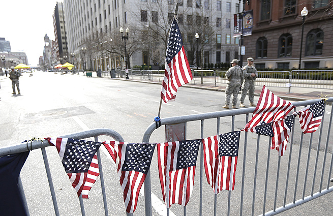 The finish line of the Boston Marathon course still remains closed as a crime scene.