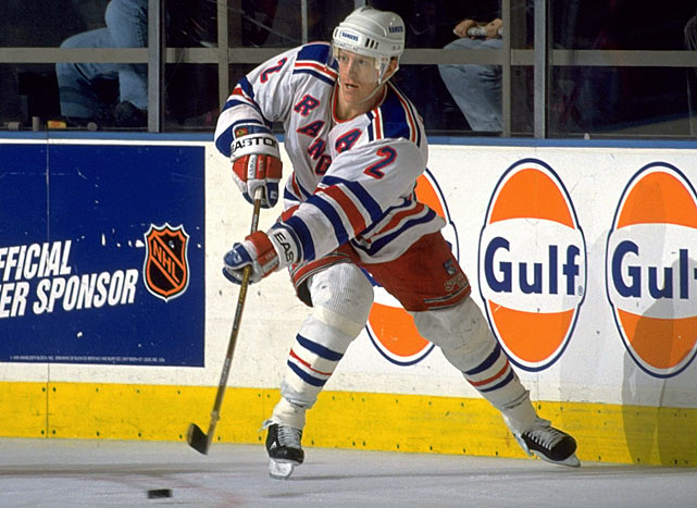 Perhaps the finest U.S.-born defenseman of all time, Leetch was a grab bag of skills, though he lacked Paul Coffey's speed and Al MacInnis' shot. He had a knack for keeping pucks in at the point, making plays in traffic, riding bigger players off the puck in his own zone, and creating scoring chances out of broken plays as well as anyone of his era. Remember his spin-o-rama goal in Game 7 of the Eastern Conference Final against New Jersey in 1994? Leetch won the Conn Smythe Trophy that year as playoff MVP and always saved his best play for pressure games, but he was too quiet and tame to follow in Mark Messier's footsteps as Ranger captain. -- <italics>Brian Cazeneuve</italics>