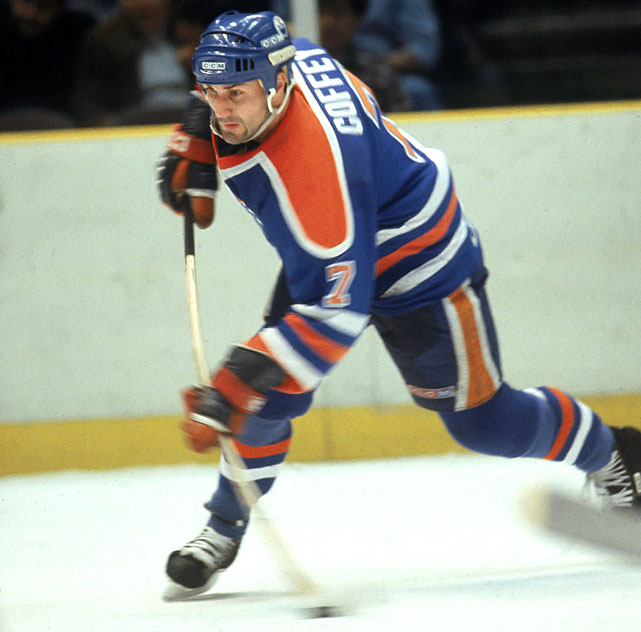 No defenseman since Orr has been as gifted as Coffey, one of the smoothest skaters to play any position on a hockey rink. With the run-and-gun Oilers, Coffey was deadly on the power play or when joining Edmonton's rush as a fourth man, a stealth trailer who feasted on leftovers produced by the likes of Wayne Gretzky, Mark Messier, Jari Kurri and Glenn Anderson. After winning three Cups in Edmonton, where he scored 48 goals in 1985-86, Coffey added another with Mario Lemieux and the Penguins in 1991, making him one of the fortunate few to ride shotgun with both 99 and 66 during their heydays. In fairness, Coffey's defensive shortcomings, especially noticeable in his later years, keep him from a higher ranking here.-- <italics>Brian Cazeneuve</italics>