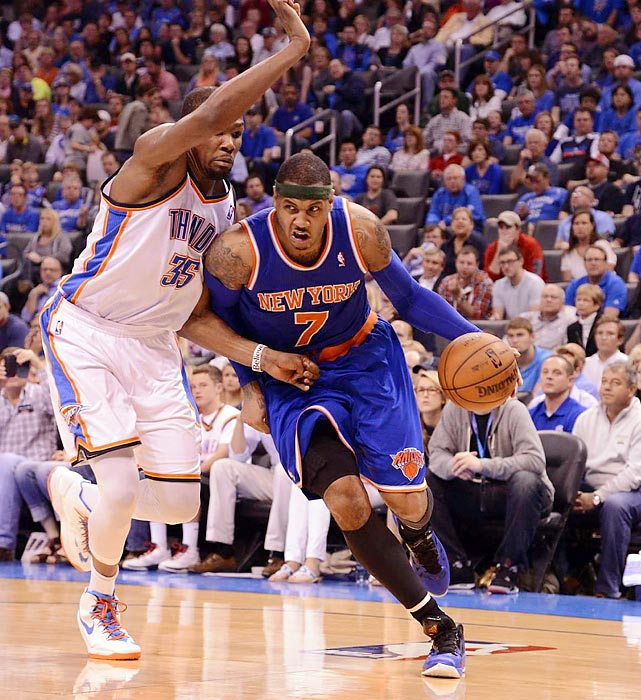 Anthony overtook Kevin Durant for the scoring title with a red-hot finish that included a 50-point performance and six consecutive games with at least 36 points. The bigger prize for Anthony, however, is leading the Knicks to their first playoff-series victory since 2000 -- and perhaps more. A late-season surge lifted New York to the No. 2 seed, and its competitiveness against Miami during the regular season should give the Knicks confidence in a potential conference finals with the defending champs.