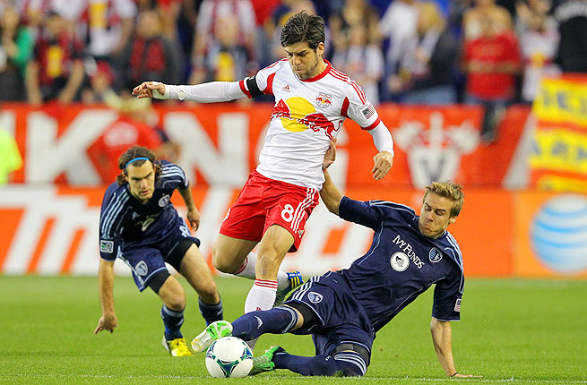 Chance Myers (7), and the Sporting KC defense stifled seemingly every Red Bulls attack Wednesday.