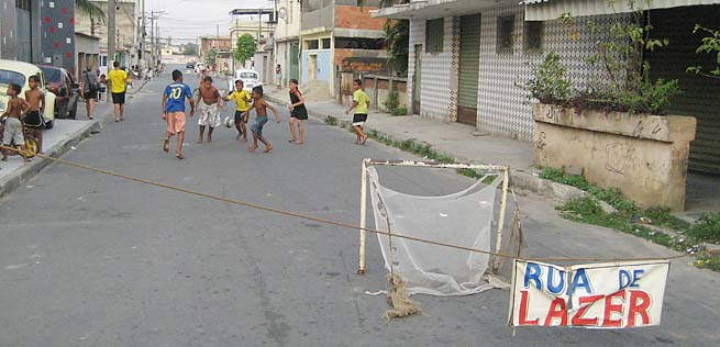 "A ""street of leisure"" roped off for kids to play on weekends in Mesquita, Brazil"