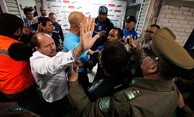 Players from Gremio and Hauchipato clashed after the final whistle of their Copa Libertadores match.