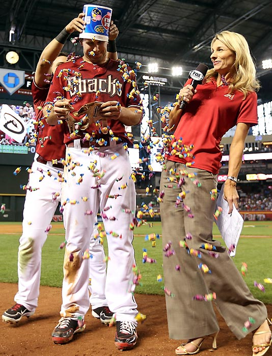 Sometimes on-air interviews go terribly awry. After the D-back first-sacker beat the Dodgers, 1-0, with a single in the ninth inning at Chase Field in Phoenix, his chat with Jody Jackson got all gummed up.