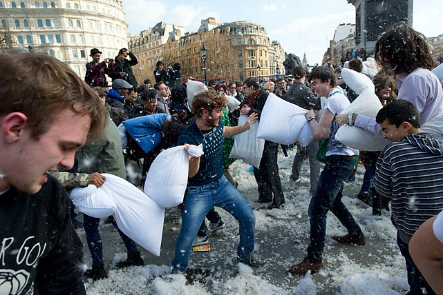 As global tensions rose, pillow fights broke out in cities around the world. This disturbing scene is from London's Trafalgar Square.