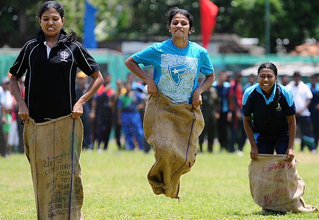 Sri Lankan soldiers participated in Sinhala and Tamil New Year celebrations in Colombo, where the New Year dawns on April 14 and traditional fun and games are organized across the island.