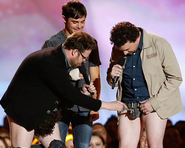 "Prior to presenting the prize for ""best shirtless performance,"" Mr. Rogen paused to make sure that Mr. McBride's equipment was functioning properly at the MTV Movie Awards in Culver City, CA."