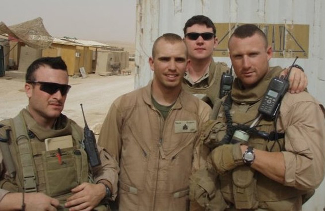 Brandon O'Brien (far right) hopes to join an Air Force special forces pararescue unit after time in the Marines.