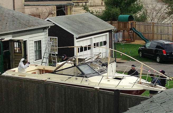 After watching his brother Tamerlan die in a firefight with police,  19-year-old Dzhokhar Tsarnaev was found hiding in this boat.