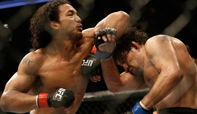 Benson Henderson (left) won a tight decision over Gilbert Melendez at UFC on Fox on Saturday.