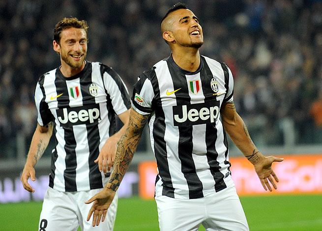 After a double against Lazio on Monday, Arturo Vidal (right) again provided Juventus the winning margin via penalty kick.