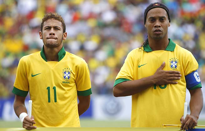 Ronaldinho (right) was once the face of Brazil's national team. Now, it's Neymar (left).