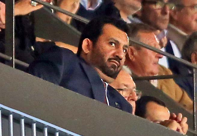 Malaga president Sheikh Abdullah Al Thani watches his club play in the Champions League