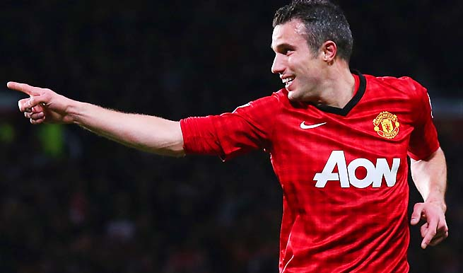 Robin van Persie scored in the second, 12th and 33rd minutes against Aston Villa on Monday.