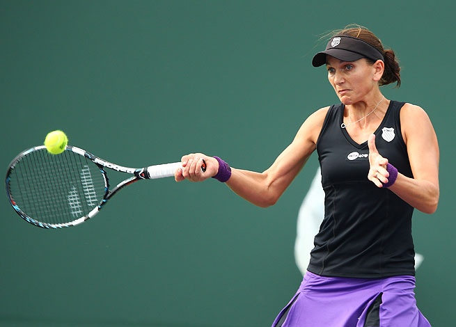 Chanelle Scheepers, shown here at the Sony Open in March, upset Sorana Cirstea at the Grand Prix SAR.
