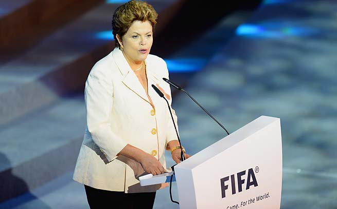 Brazilian president Dilma Rousseff addresses the audience during the Official Draw for the Confederations Cup.