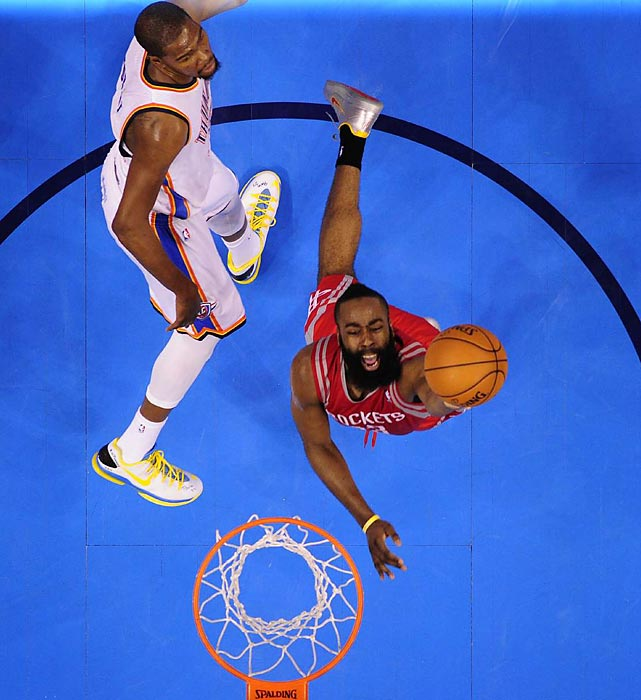 James Harden came up big under the basket for the Houston Rockets in Game 1 against the Oklahoma City Thunder. He led the team with 20 points, but it wasn't enough to keep them from falling 120-91.