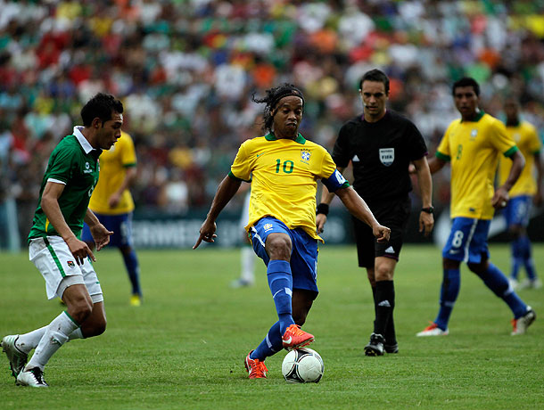 Ronaldinho (center) was previously named captain in Brazil's match against Bolivia earlier this month.