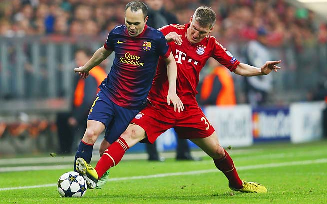 Andres Iniesta (left) and Barcelona ready for the return leg on Wednesday at home.
