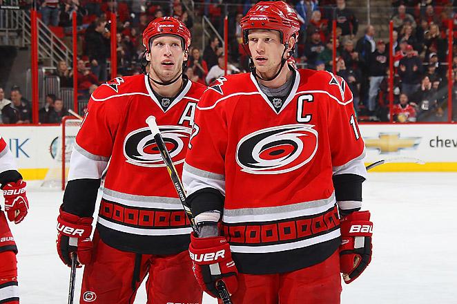 Carolina called up Jared Staal from the AHL and he started on the same line as his two brothers.