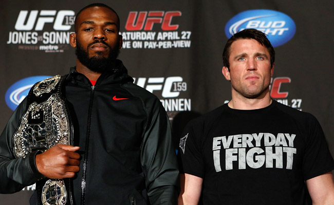 36-year-old Chael Sonnen (right) has never before worn a UFC championship belt.