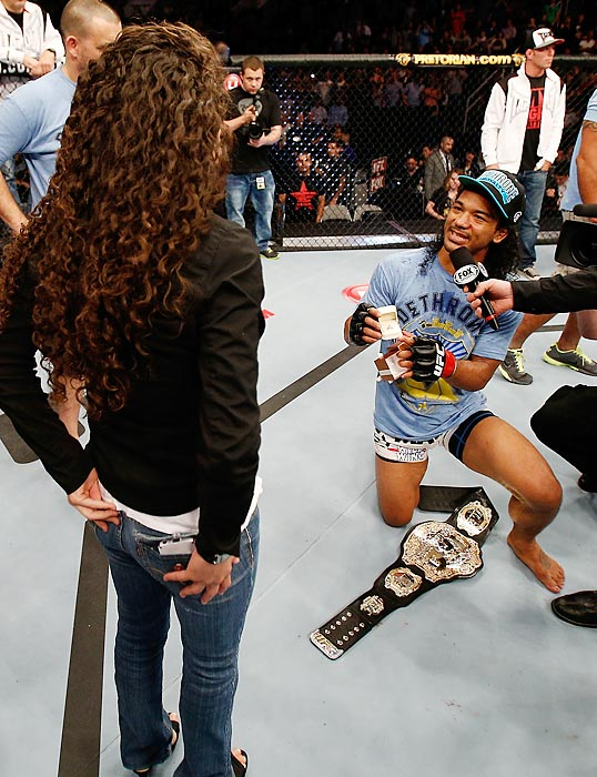 It was only fitting that the big event at San Jose's HP Pavilion included a tender wedding proposal by Benson Henderson to his girlfriend Maria Magana. After all, few will argue that marriage is not a form of ultimate fighting.
