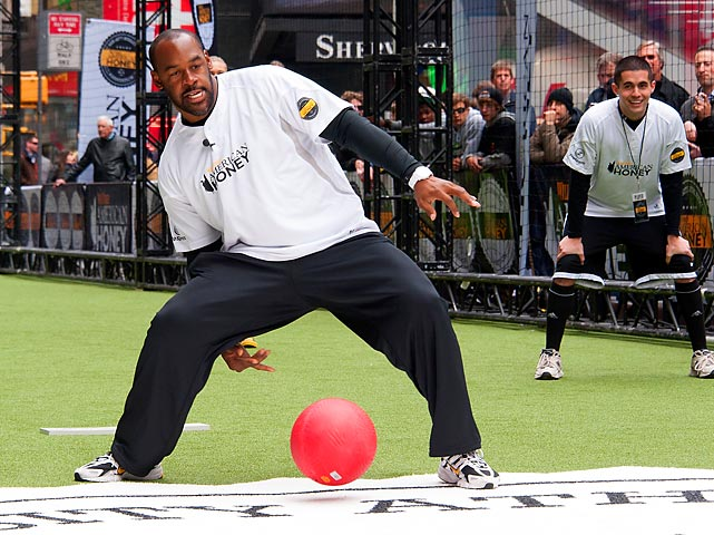 The former QB returned to New York City, the scene of his warm, fuzzy welcome to the NFL from Philadelphia Eagles fans back in 1999, to ply his new trade in the 2013 Celebrity Kickball Game in Times Square.