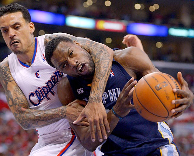 Basketball is a also a form of ultimate fighting as you can see. Here we have Tony Allen of the Grizzlies entering a state of Holy Headlock with Matt Barnes of the Clippers during their playoff game in Los Angeles.