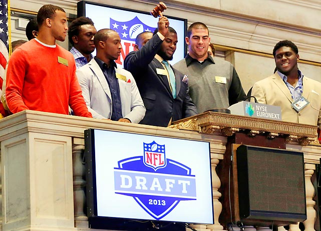 NFL draft prospects (front row from left), Dee Milliner Tavon Austin, Sharrif Floyd, Eric Fisher, and Chance Warmack ring the closing bell on Wall Street, and on that note we shall bring these procedings to yet another ignominious end.
