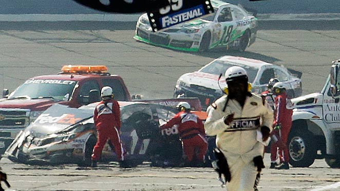 Denny Hamlin hit the wall at Fontana head-on, fracturing his spine on March 24.