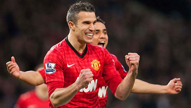 Robin van Persie leads the English Premier League with 24 goals this season.