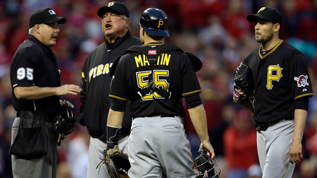 Pirates starter Jonathan Sanchez was tossed after hitting St. Louis' Allen Craig in the head with a pitch.